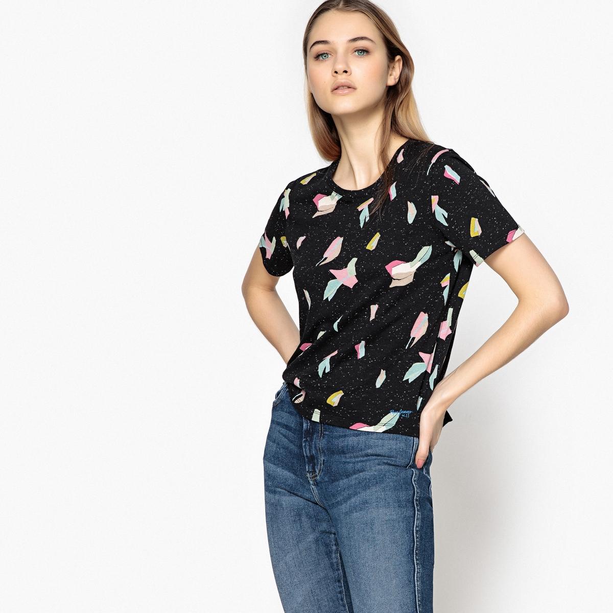 Camiseta con cuello redondo estampada