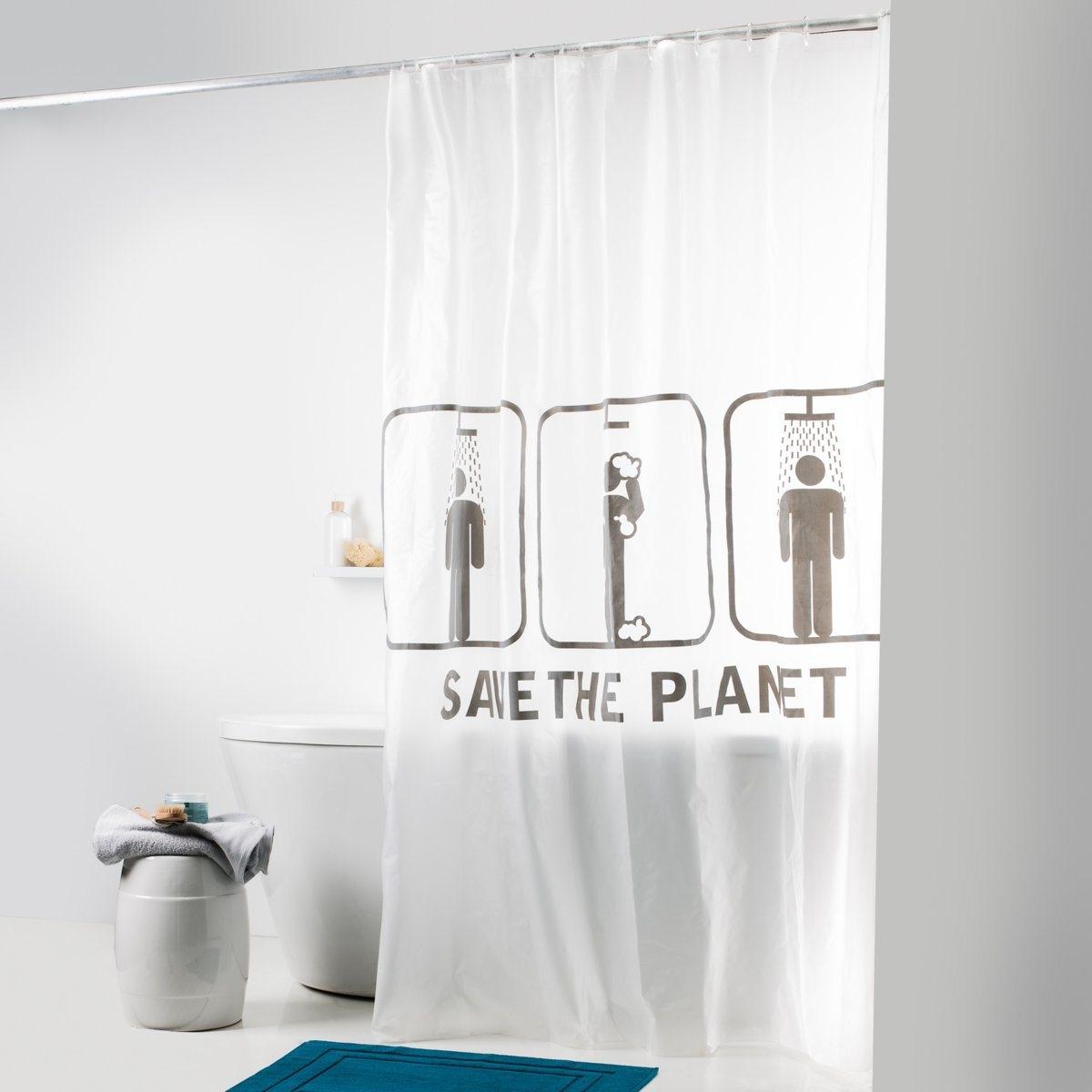Штора для душаШтора Спасем планету с рисунком на белом фоне для современной ванной! 100% ПЭВА. В комплекте прозрачные пластиковые крючки для крепления. Размер: высота 200 см, ширина 180 см.<br><br>Цвет: белый прозрачный