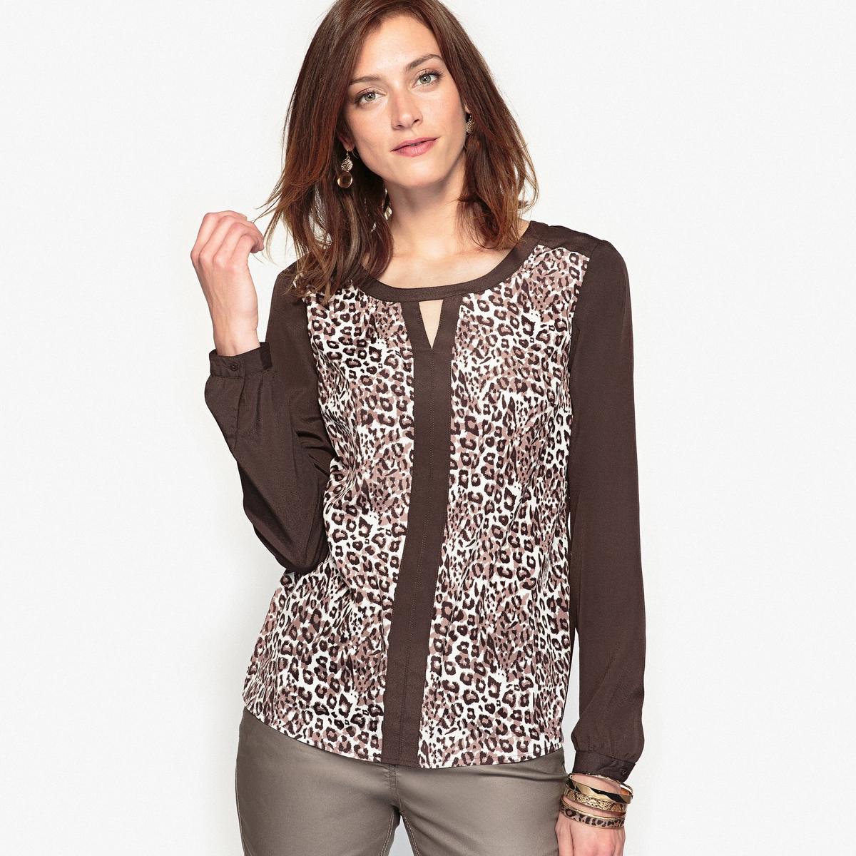 Блузка с рисунком из крепа chapurin блузка из крепа с контрастной полосой