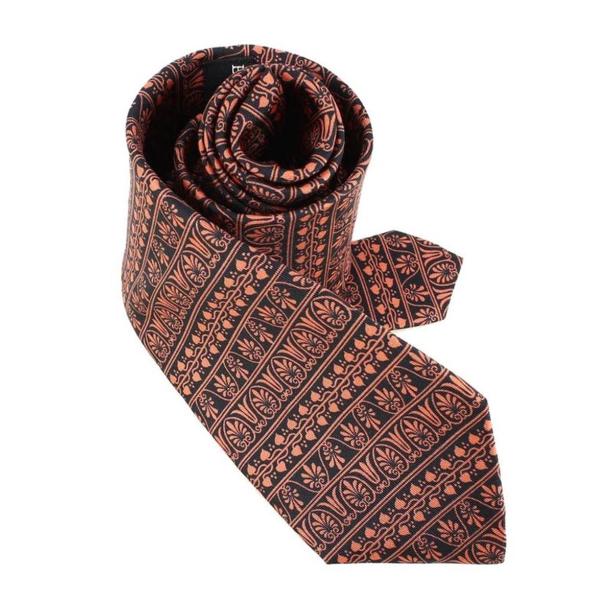 Cravate Lyonnaise  en soie  PALMETTES GRECQUES, Made in France