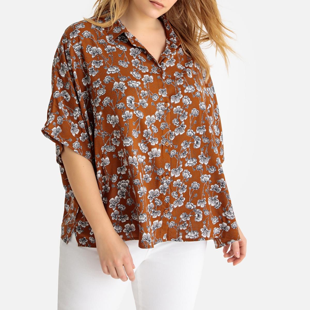 Рубашка La Redoute С цветочным принтом и короткими рукавами 44 (FR) - 50 (RUS) другие