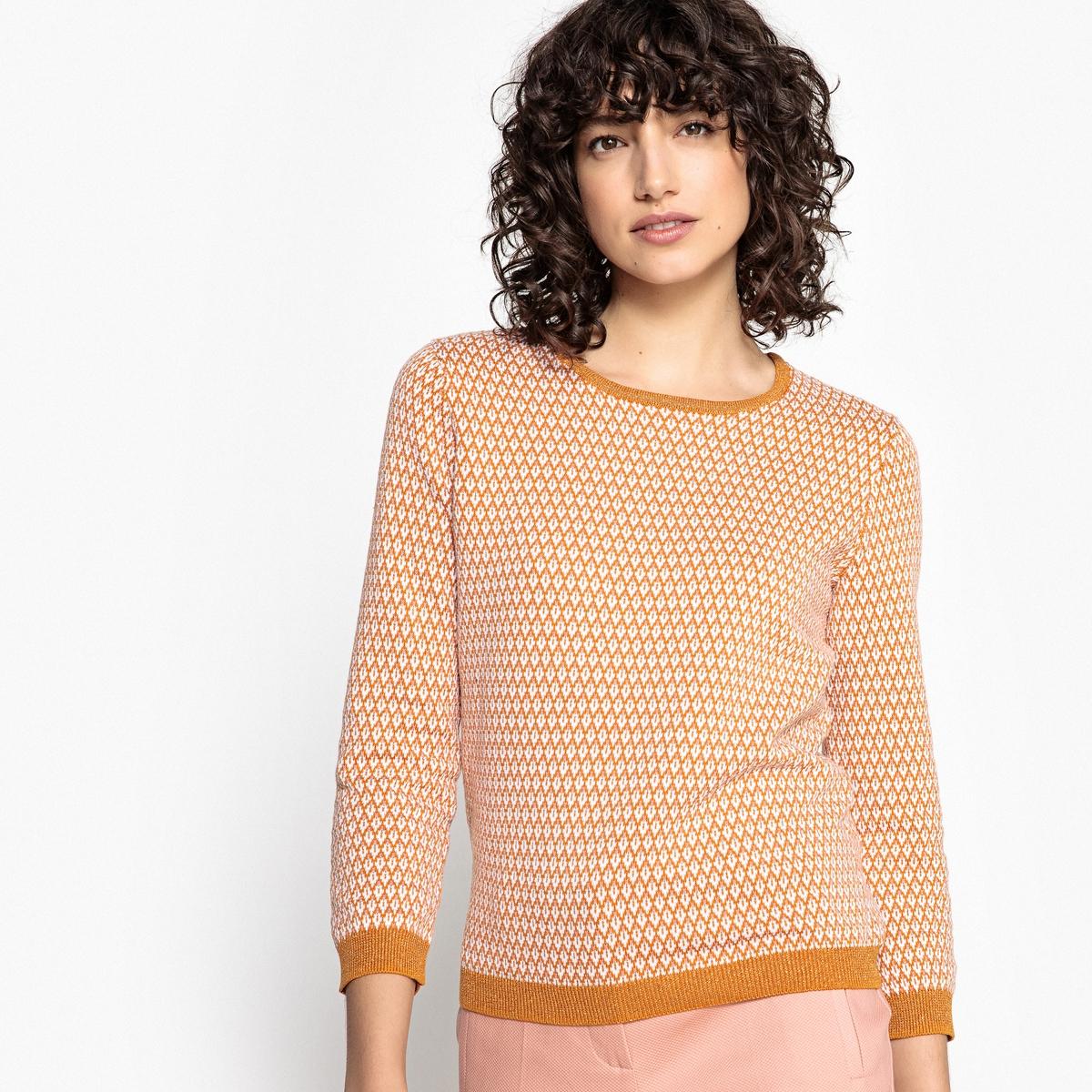 Пуловер хлопковый с рукавами 3/4  и жаккардовым рисунком