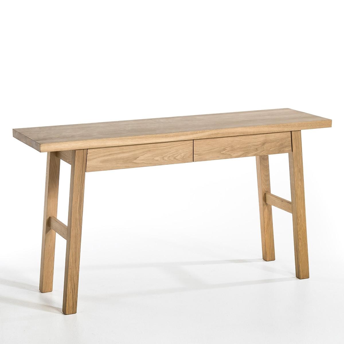 Стол-консоль LaRedoute Из массива дуба Liu единый размер каштановый столик laredoute журнальный из дуба покрытого олифой adelita единый размер каштановый