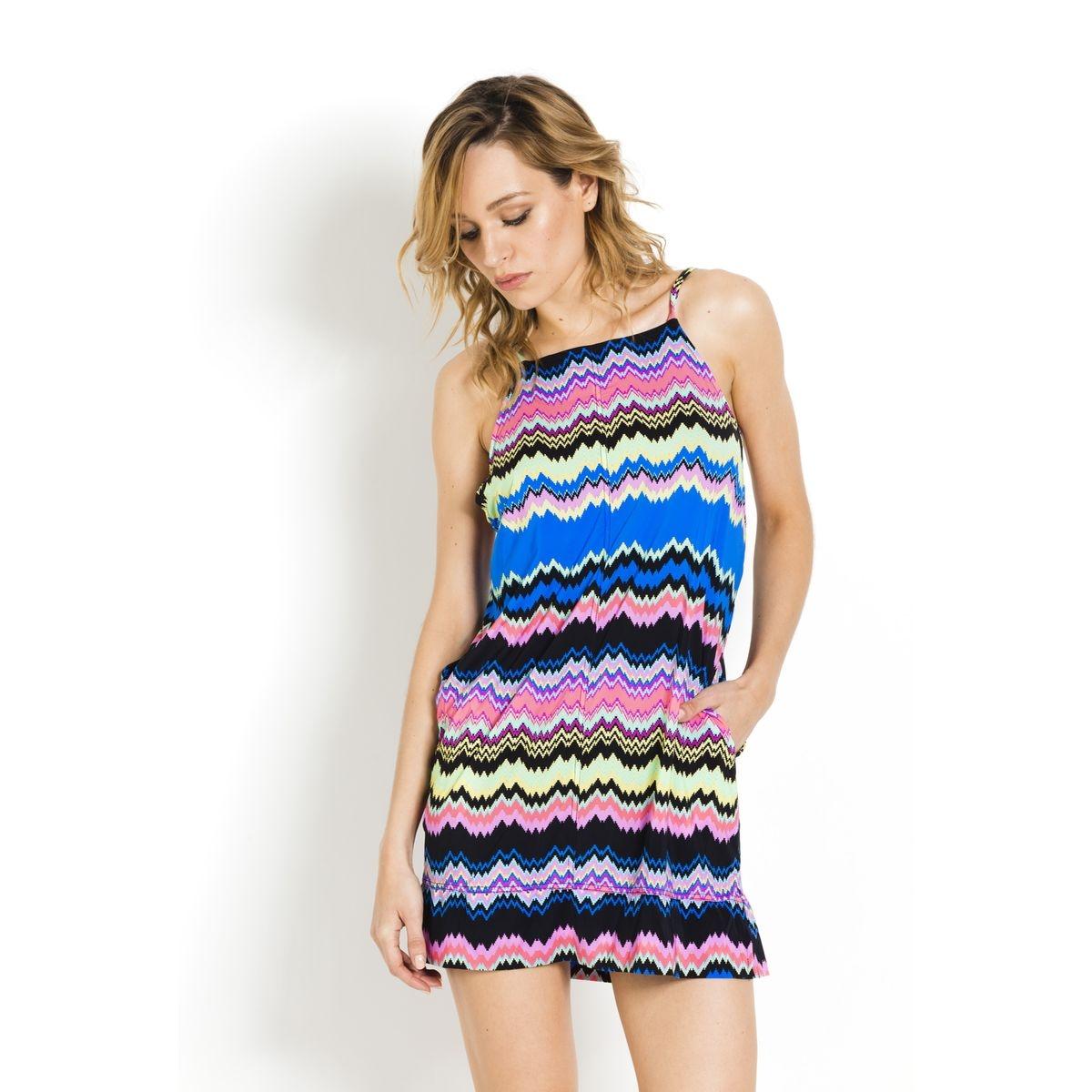 Robe de plage ample droite courte Malia  Multicolore