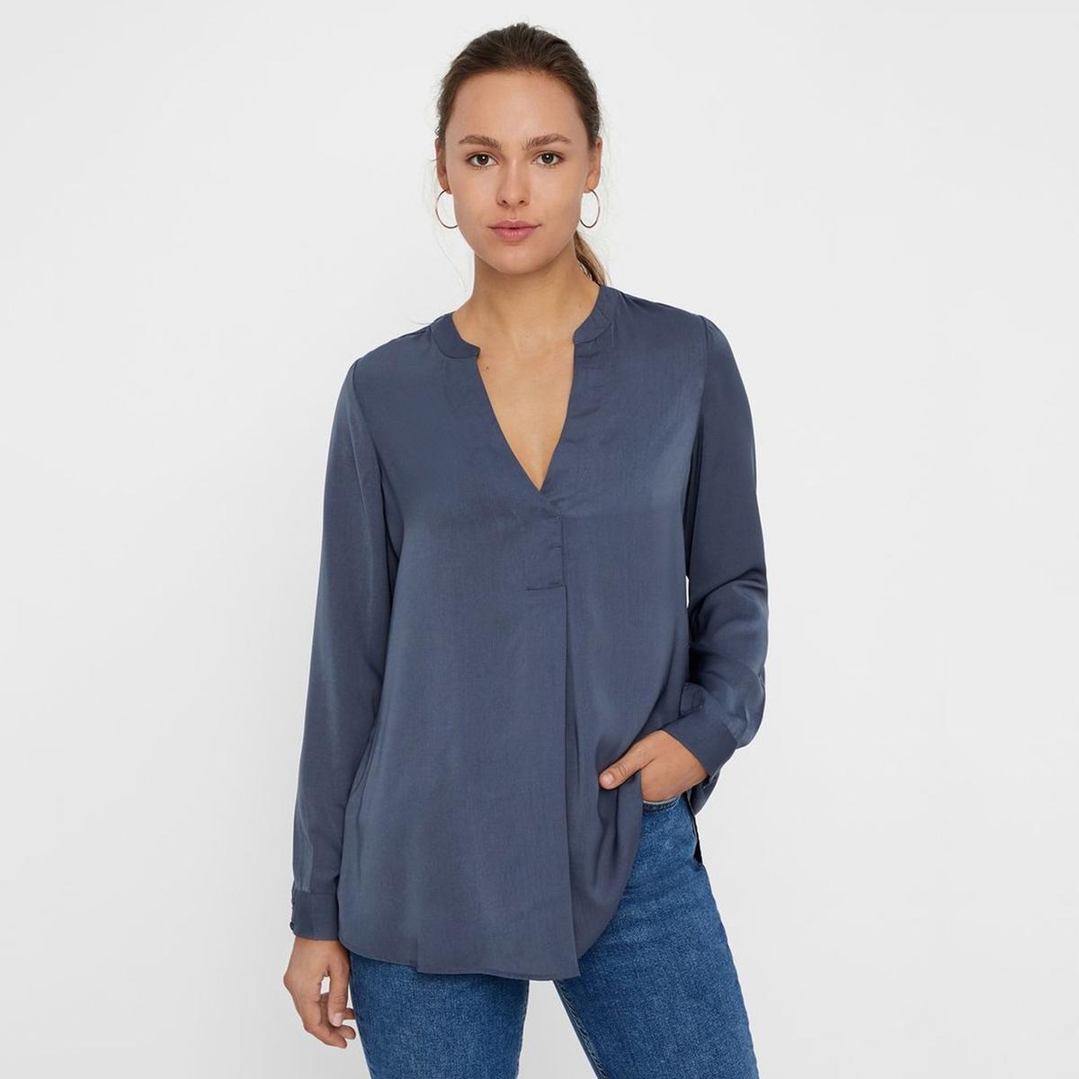 Блузка La Redoute С V-образным вырезом и длинными рукавами S синий футболка la redoute с длинными рукавами и v образным вырезом из кружева s черный