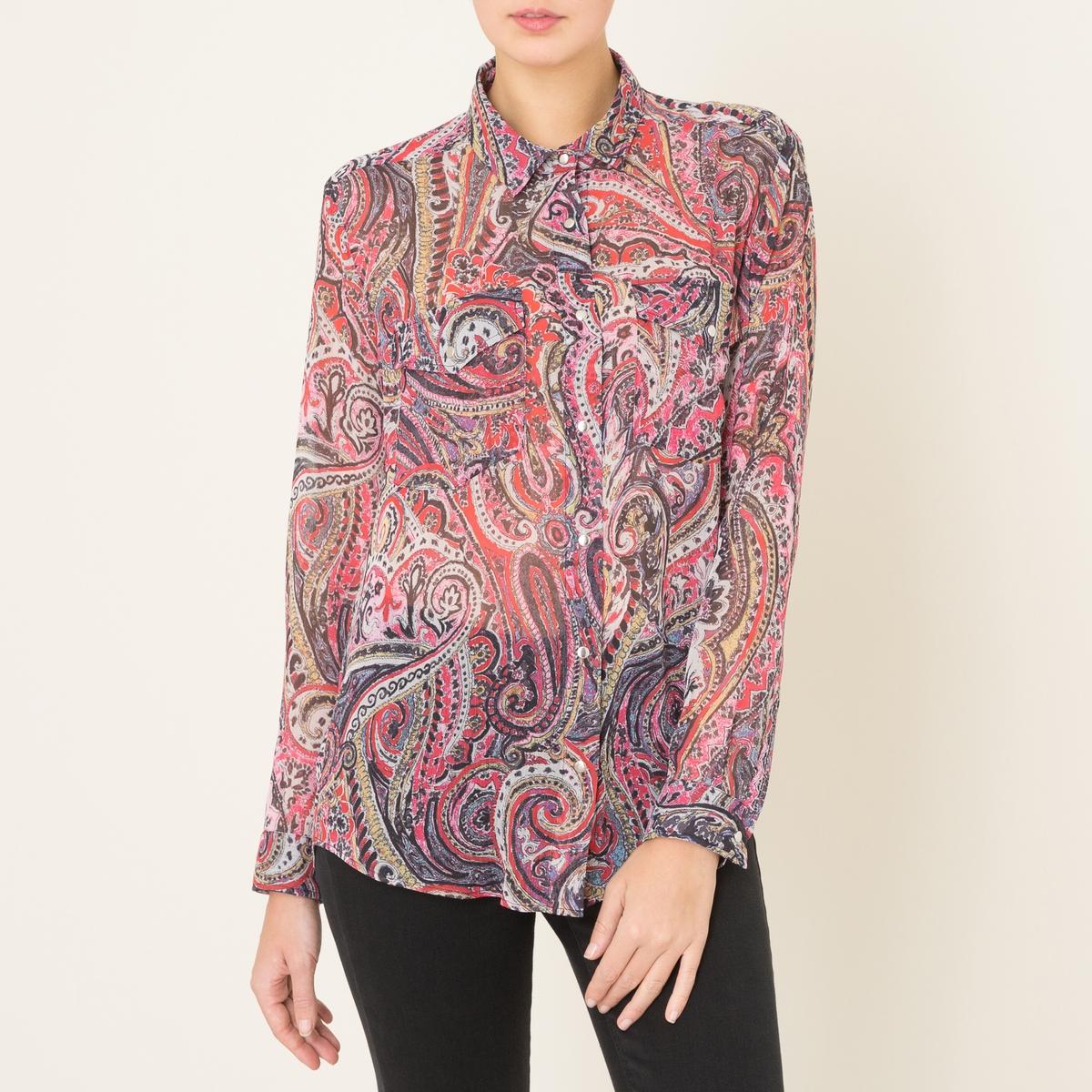 Рубашка с рисункомРубашка THE KOOPLES - из вуали с принтом. Рубашечный воротник со свободными уголками   . Застежка на кнопки, манжеты на кнопках. 2 нагрудных кармана с клапанами на кнопках . длинные рукава. Закругленный низ.Состав и описание:    Материал : 100% полиэстер    Марка : THE KOOPLES<br><br>Цвет: розовый