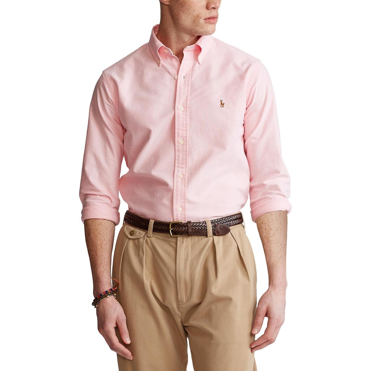 Рубашка LaRedoute Прямого покроя в клетку M розовый