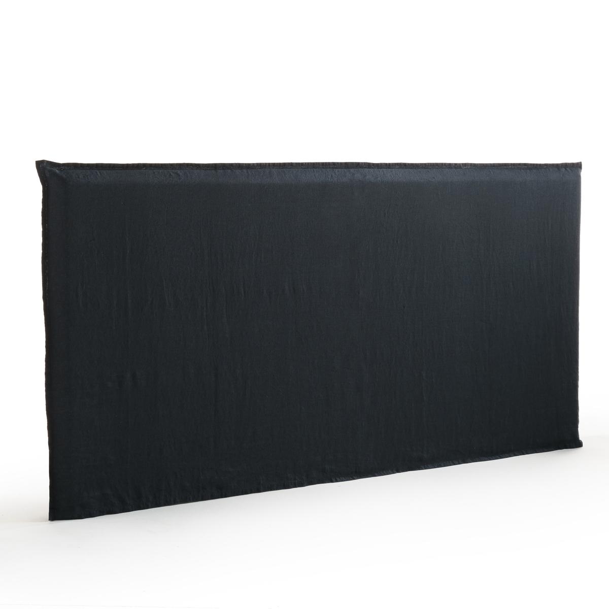 Чехол из стиранного льна для изголовья кровати XL, SandorМатериал :- 100% плотный лён. Отделка :- В форме наволочки, плоский волан в 2,5 см. Уход :- Машинная стирка при 40 °С. Размеры :- Ширина 265 x Высота 135 см.<br><br>Цвет: антрацит