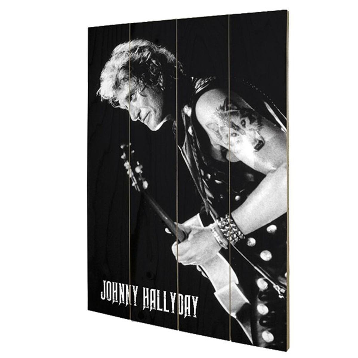 Plaque décorative Lone Worf en bois Johnny Hallyday