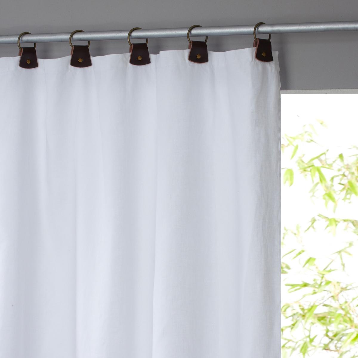 Штора La Redoute Из льна на подкладке с кожаными шлевками Private 140 x 260 см белый комплект из полотенце для la redoute рук из хлопка и льна nipaly 50 x 100 см белый