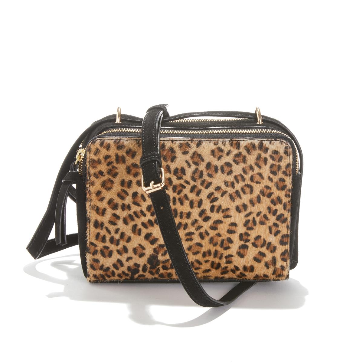 Bolso rígido de piel, efecto leopardo