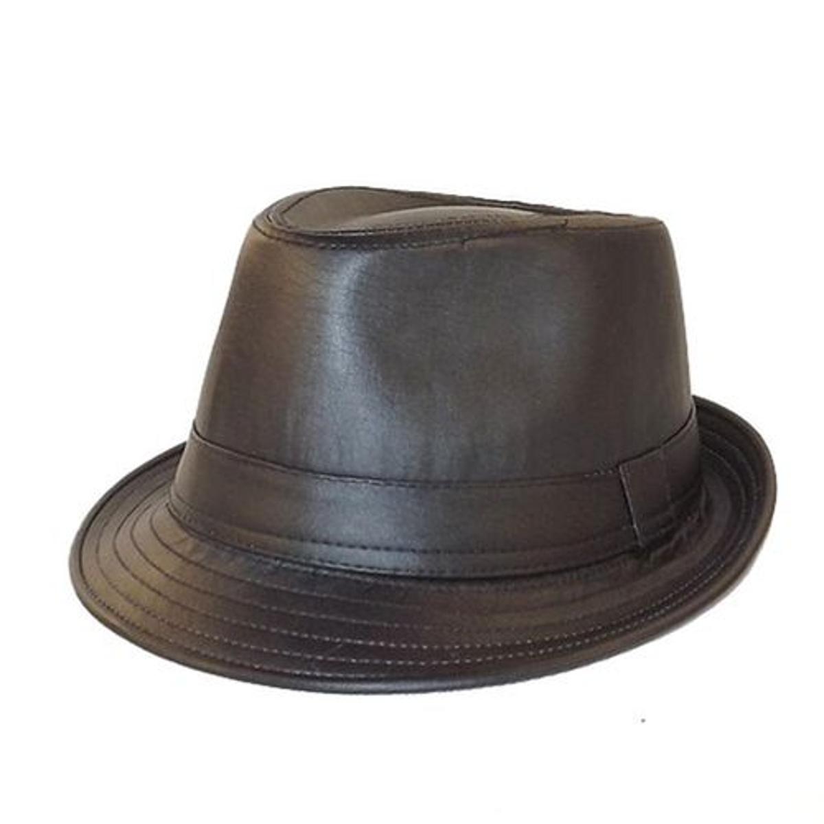 Chapeau trilby façon cuir