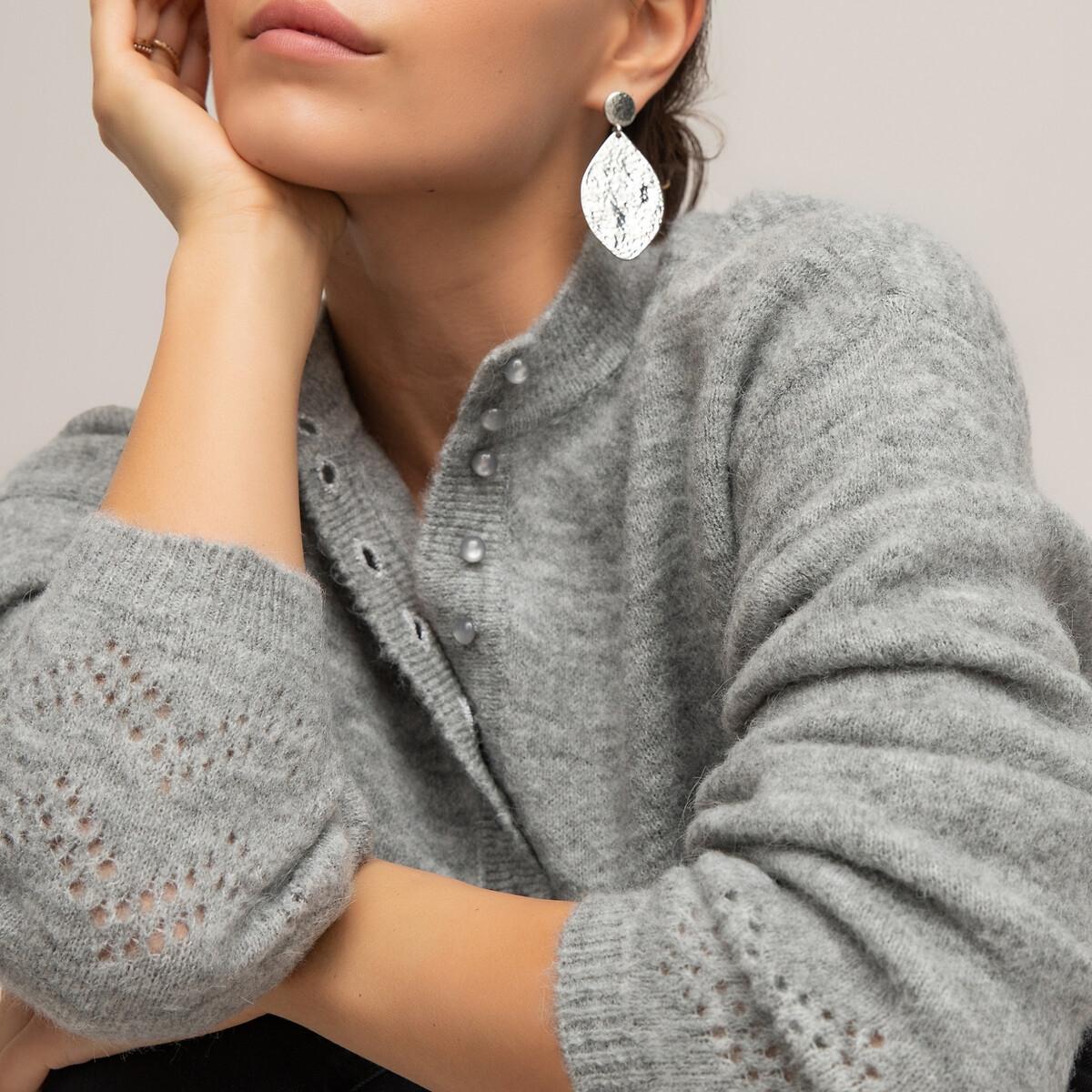 Пуловер LaRedoute С круглым вырезом с разрезом спереди из тонкого трикотажа XL серый