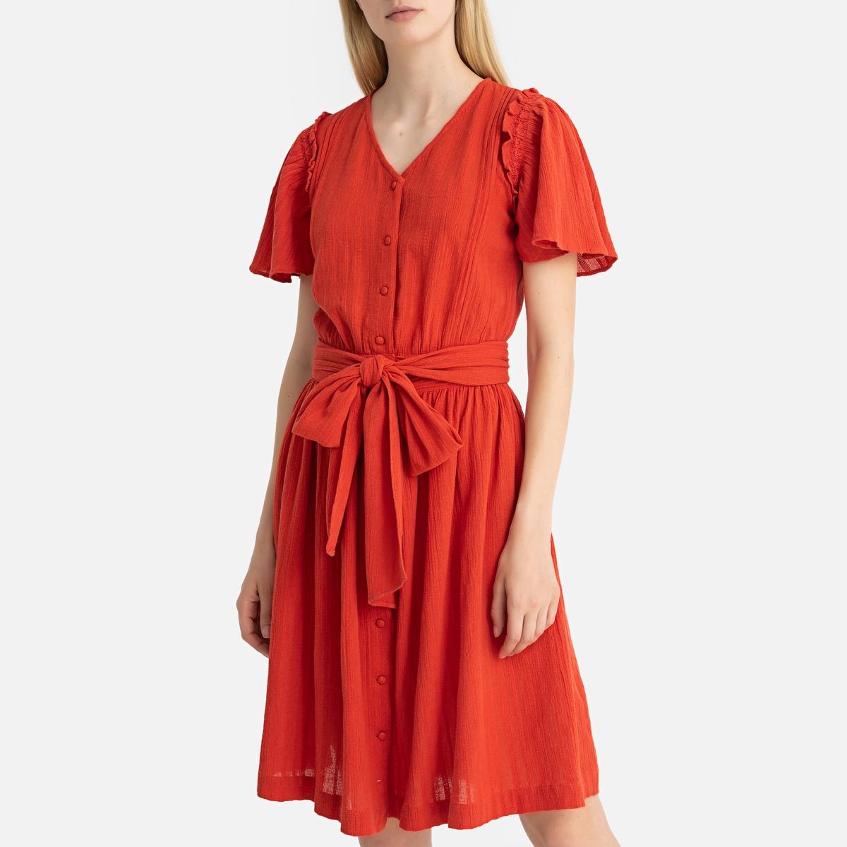 Платье La Redoute Короткое с короткими рукавами VELHA M оранжевый гипюровое платье с короткими рукавами steilmann