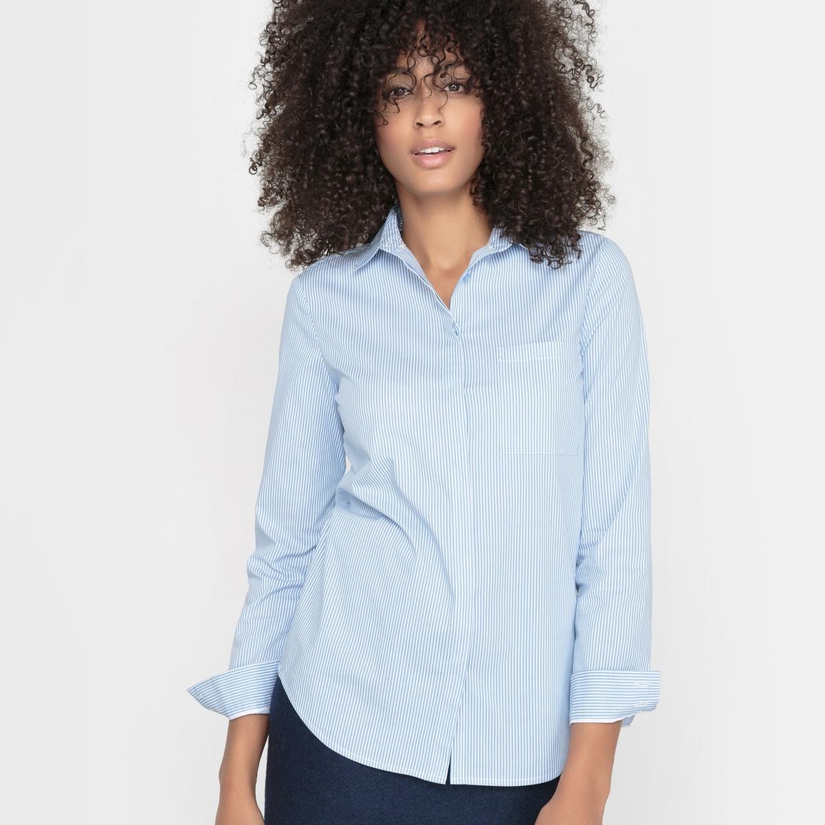 Рубашка из поплина в полоску с длинными рукавами<br><br>Цвет: в полоску голубой/белый