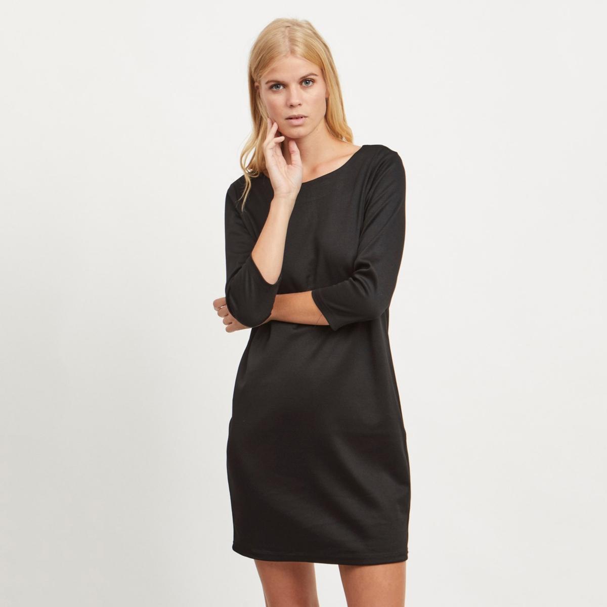 цена Платье La Redoute В полоску прямое с рукавами XS черный онлайн в 2017 году