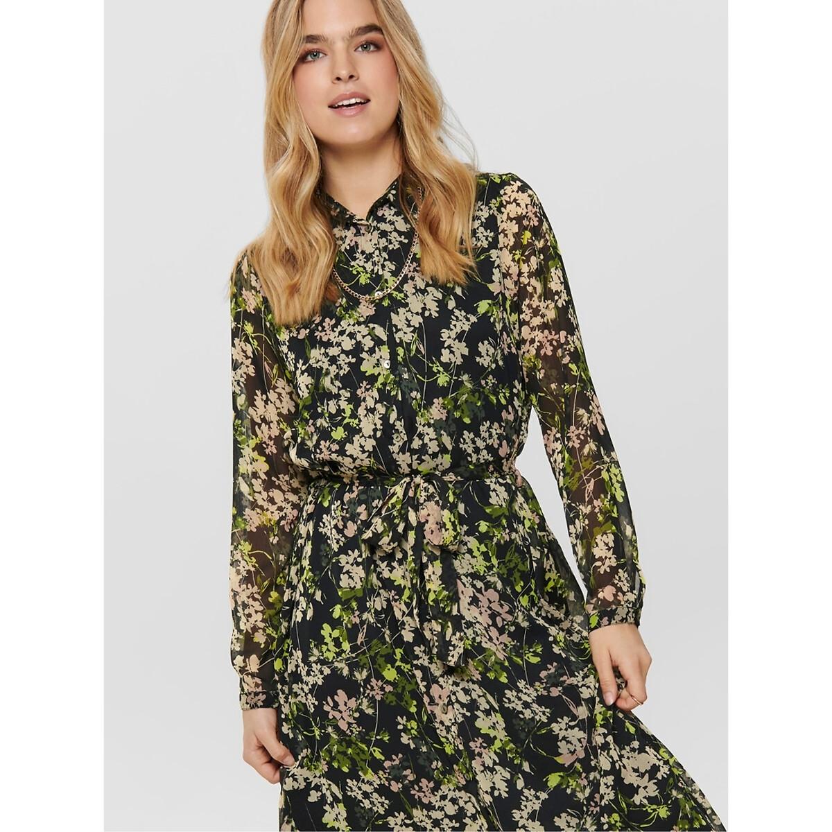 цена Платье La Redoute Длинное с цветочным принтом рубашечный воротник 36 (FR) - 42 (RUS) черный онлайн в 2017 году