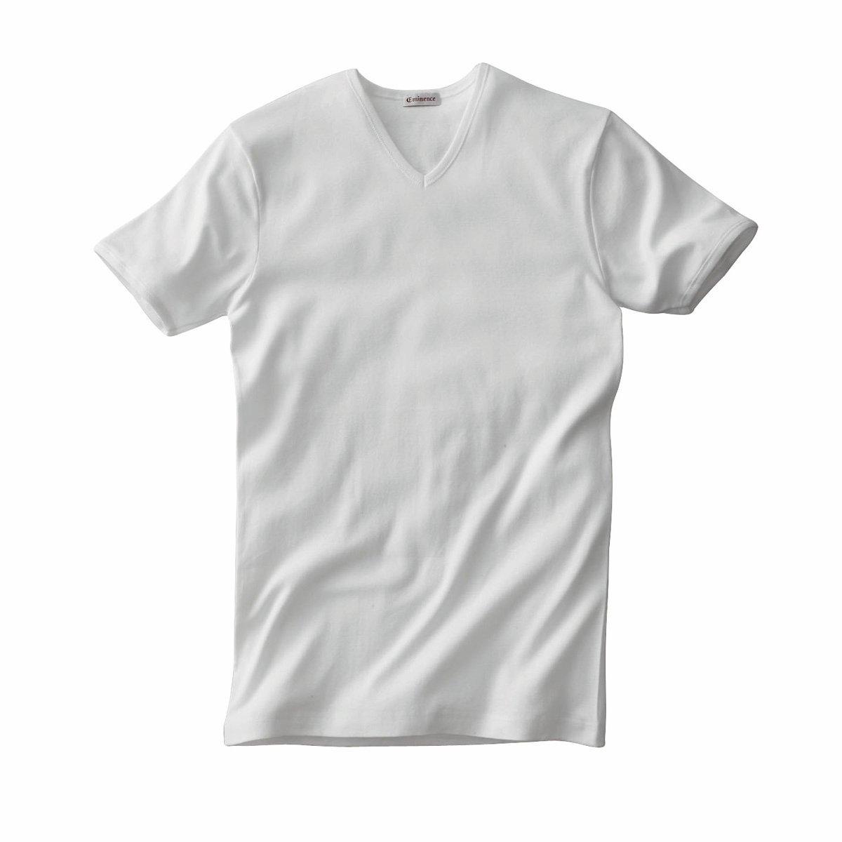 Комплект из 2 футболок EMINENCE с V-образным вырезом и короткими рукавами2 футболки EMINENCE из трикотажа в тонкий рубчик, 100% гипоаллергенного хлопка. V-образный вырез и короткие рукава : приятный материал, минимальный риск аллергии. Ультракомфортная футболка ! Края связаны в рубчик.     В комплекте 2 футболки одного цвета.<br><br>Цвет: белый