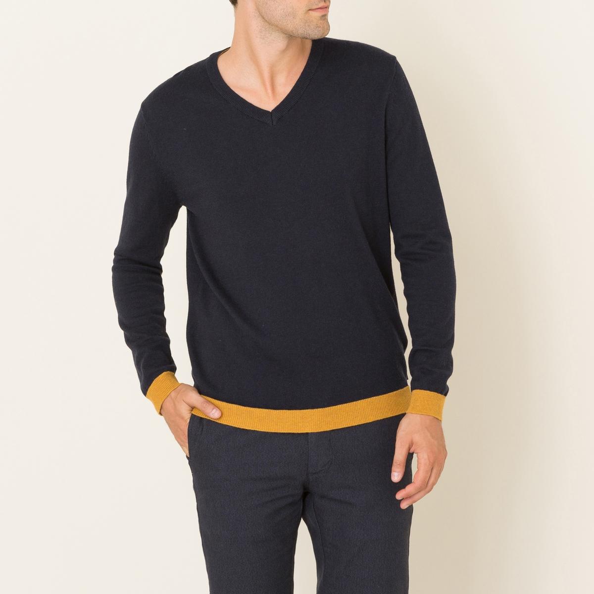 Пуловер SALTOПуловер HARRIS WILSON - модель SALTO. Разноцветный рисунок. V-образный вырез. Детали контрастного цвета : вырез, локти, манжеты и низ. Состав и описание Материал : 70% хлопка, 30% шерстиМарка : HARRIS WILSON<br><br>Цвет: темно-синий