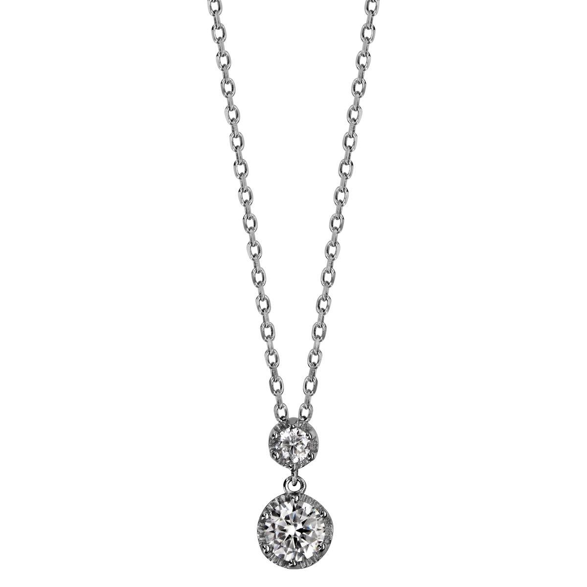 Collier Longueur Réglable: 42 à 46 cm Pendentif Rond Blanc Argent 925