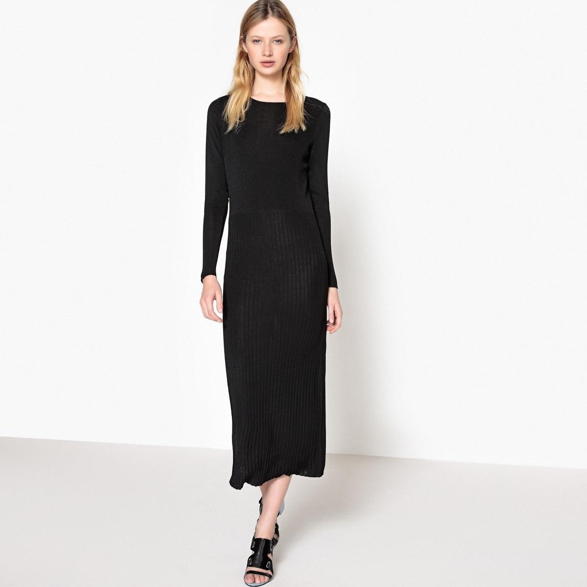 Платье прямое длинное однотонное с длинными рукавамиОписание:Детали •  Форма : прямая •  Длина ниже колен •  Длинные рукава    •  Круглый вырезСостав и уход •      •  Следуйте рекомендациям по уходу, указанным на этикетке изделия •  длина : 125 см<br><br>Цвет: красно-коричневый,черный<br>Размер: L.M.M
