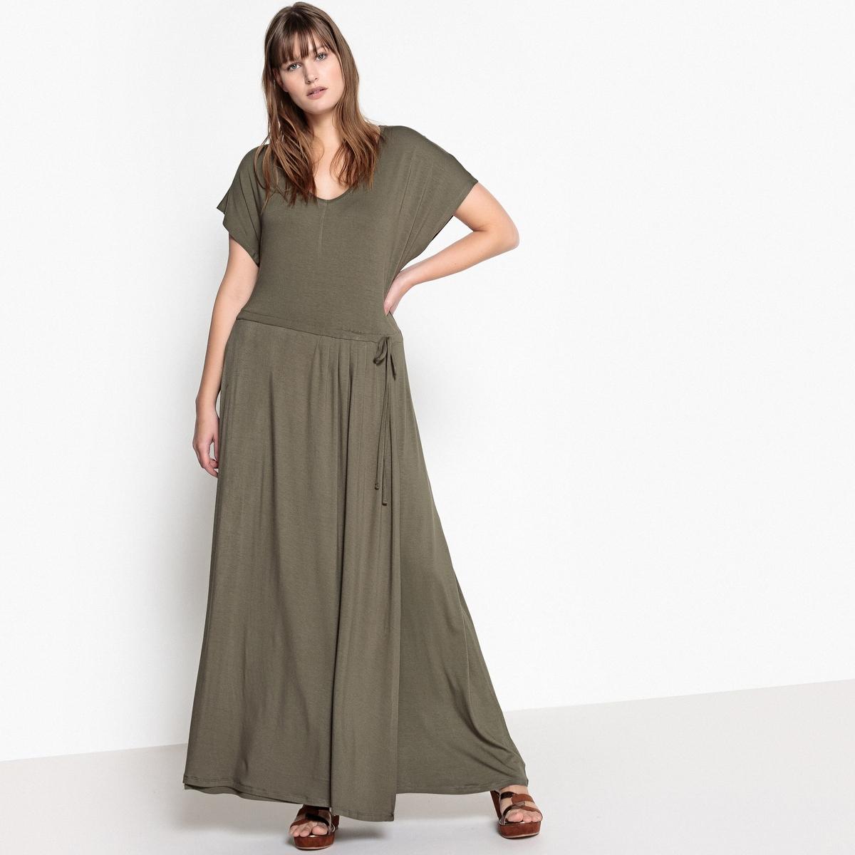 Платье длинное с завязками на поясеДлинное платье из трикотажа: верх элегантности. Это длинное трикотажное платье можно носить каждый день или надеть на вечеринку в сочетании с яркими аксессуарами.Детали •  Форма: расклешенная •  Длина ниже колен •  Короткие рукава    •   V-образный вырезСостав и уход •  95 % вискоза, 5% эластан •  Температура стирки при 30° в деликатном режиме •  Сухая чистка и отбеливатели запрещены •  Не использовать барабанную сушку •  Низкая температура глажкиТовар из коллекции больших размеров •  Очень длинное. •  Завязка в кулиске на поясе. •  Длина посередине спинки 140 см.<br><br>Цвет: красный,синий морской,хаки<br>Размер: 58 (FR) - 64 (RUS).44 (FR) - 50 (RUS).48 (FR) - 54 (RUS).46 (FR) - 52 (RUS).58 (FR) - 64 (RUS).52 (FR) - 58 (RUS).42 (FR) - 48 (RUS).56 (FR) - 62 (RUS).54 (FR) - 60 (RUS).54 (FR) - 60 (RUS).52 (FR) - 58 (RUS).48 (FR) - 54 (RUS).46 (FR) - 52 (RUS).56 (FR) - 62 (RUS).50 (FR) - 56 (RUS).54 (FR) - 60 (RUS).56 (FR) - 62 (RUS).58 (FR) - 64 (RUS).52 (FR) - 58 (RUS).42 (FR) - 48 (RUS).50 (FR) - 56 (RUS).44 (FR) - 50 (RUS).44 (FR) - 50 (RUS).42 (FR) - 48 (RUS).48 (FR) - 54 (RUS).46 (FR) - 52 (RUS)