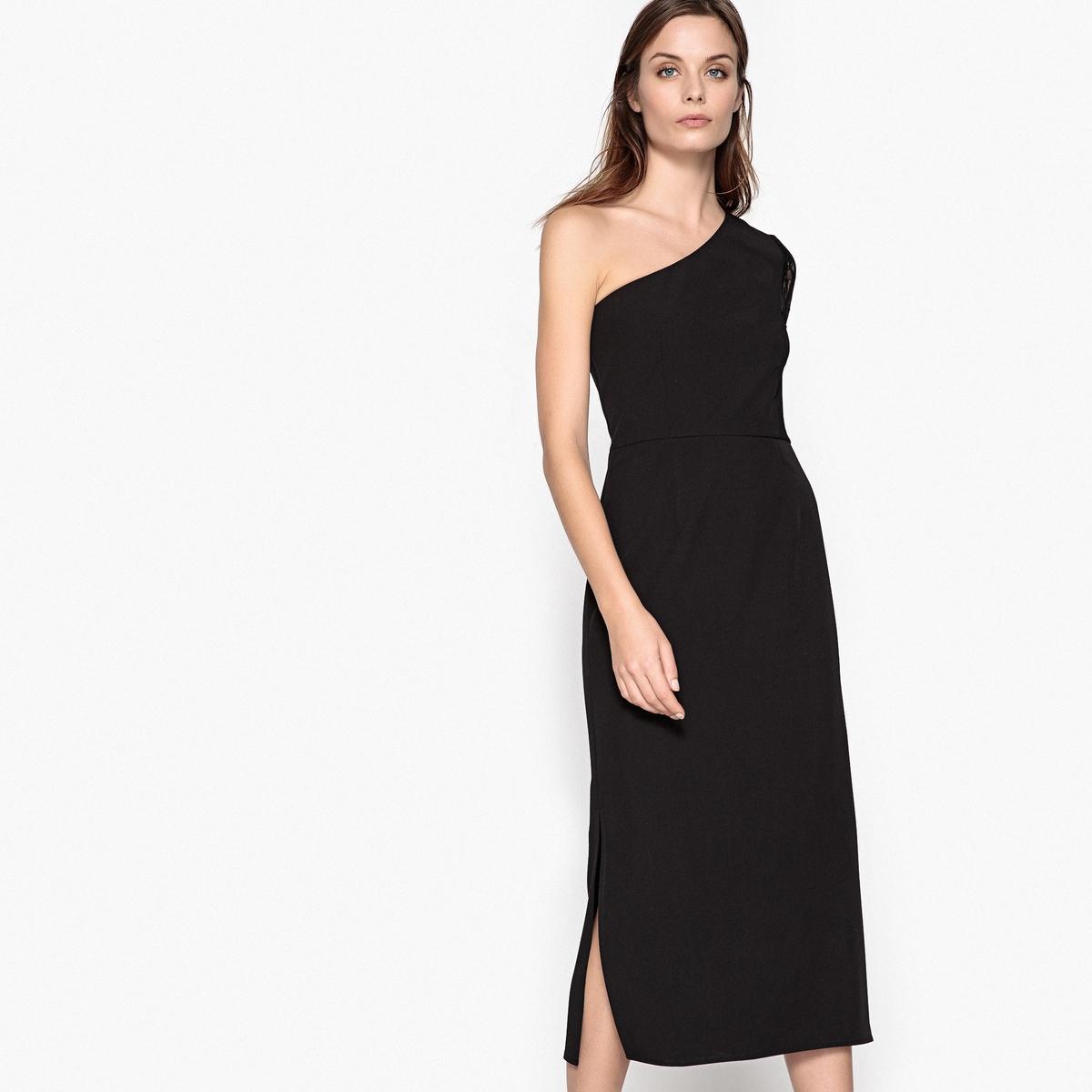 Платье длинное с открытыми плечами и кружевными рукавами