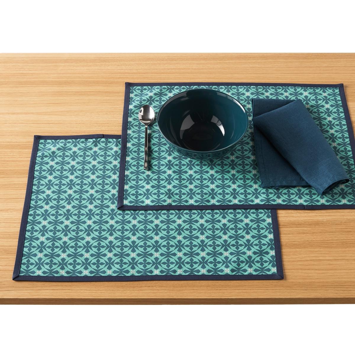2 подложки La Redoute Под столовые приборы с пропиткой AZILA единый размер синий