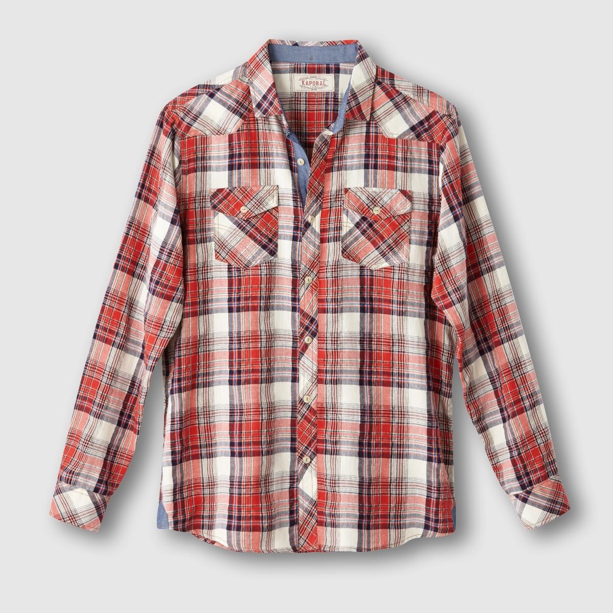 Рубашка в клеткуСостав и описаниеМатериал : 98% хлопка, 2% эластанаМарка : KAPORAL<br><br>Цвет: белый в красную клетку<br>Размер: M