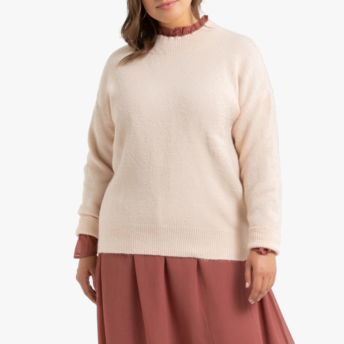 Пуловер La Redoute С воротником-стойкой из плотного трикотажа 50/52 (FR) - 56/58 (RUS) розовый