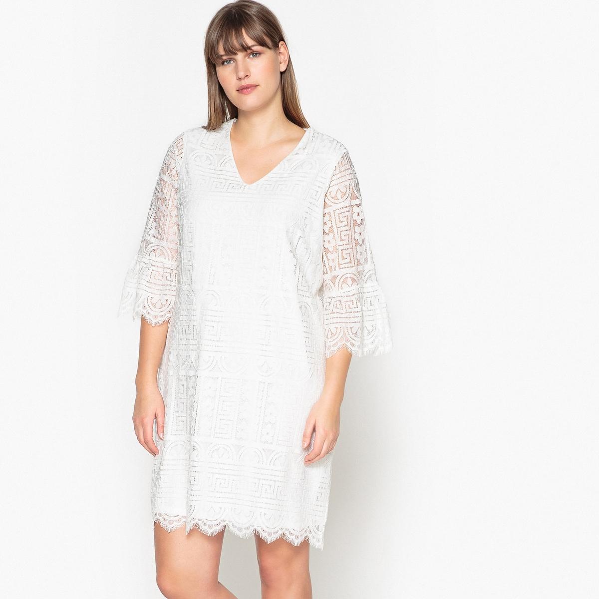 Платье короткое прямое однотонное с длинными рукавами