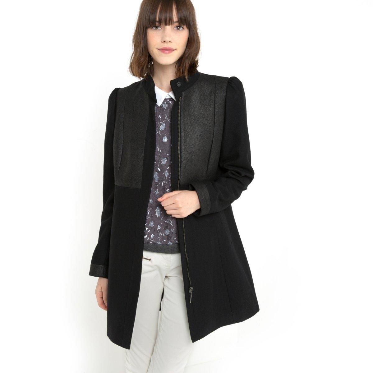 Пальто из двух материалов, 50% шерсти