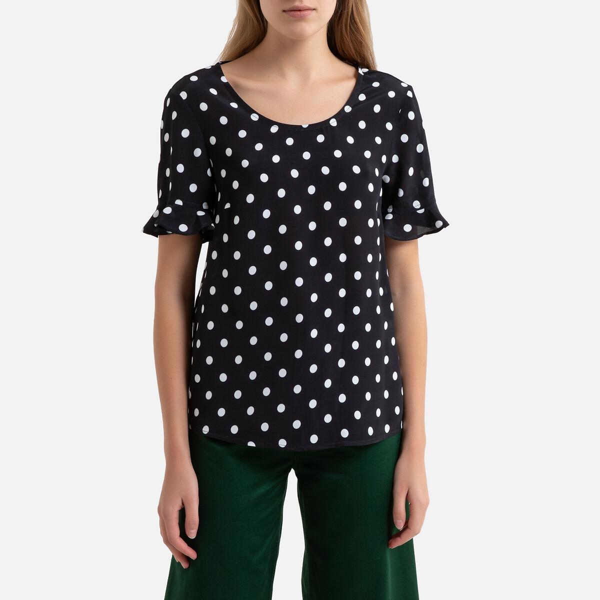 Блузка LaRedoute В горошек с короткими рукавами ROMANE 38 (FR) - 44 (RUS) черный платье la redoute прямое с рукавами 34 fr 40 rus черный