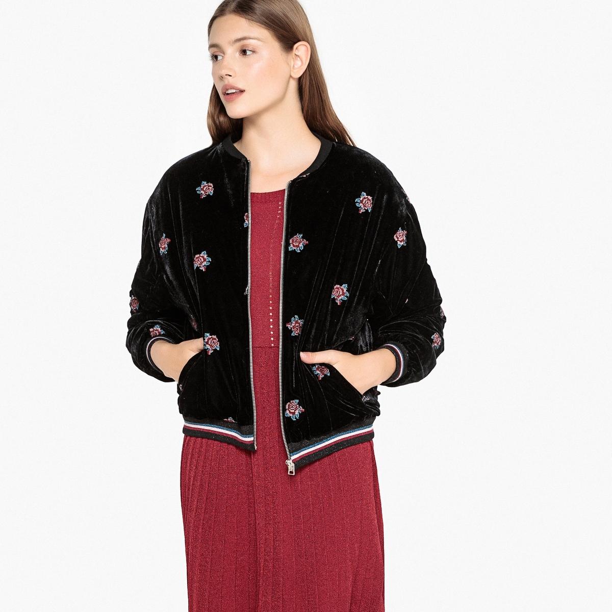 Куртка-бомбер из велюра с цветочной вышивкой, DIEGO diego dolcini туфли