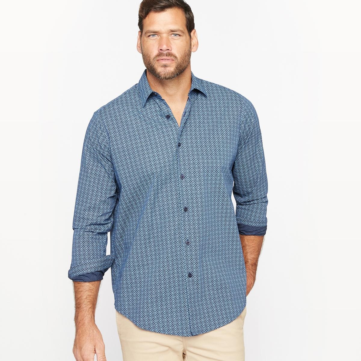 Рубашка с рисункомМатериал : Поплин из 100% хлопка.Длина передней части от 83 до 90 см в зависимости от размера.Марка : CASTALUNA FOR MEN.Уход : Машинная стирка при 30 °C.<br><br>Цвет: рисунок темно-синий<br>Размер: 51/52
