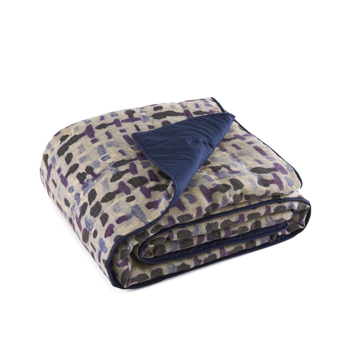 Покрывало LaRedoute Из льнахлопковой вуали Xeka 150 x см синий