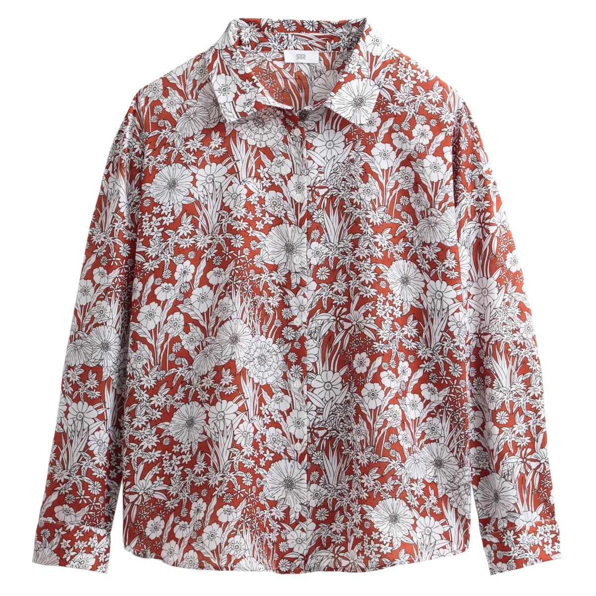 Camisa con estampado de flores, de manga larga