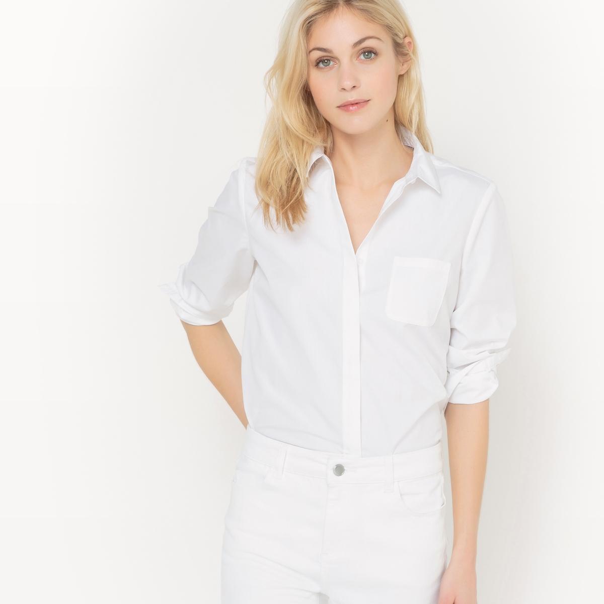 Рубашка прямого покроя из хлопкаДетали  •  Длинные рукава • Покрой прямой •  Рубашечный воротник-полоСостав и уход •  69% хлопка, 3% эластана, 28% полиамида •  Стирать при температуре 30° •  Сухая чистка и отбеливание запрещены   •  Не использовать барабанную сушку  •  Гладить при низкой температуре<br><br>Цвет: белый<br>Размер: 34 (FR) - 40 (RUS).36 (FR) - 42 (RUS).42 (FR) - 48 (RUS).50 (FR) - 56 (RUS)