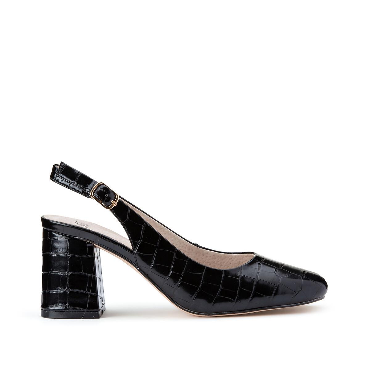 Туфли LaRedoute На широком каблуке под крокодиловую кожу 39 черный