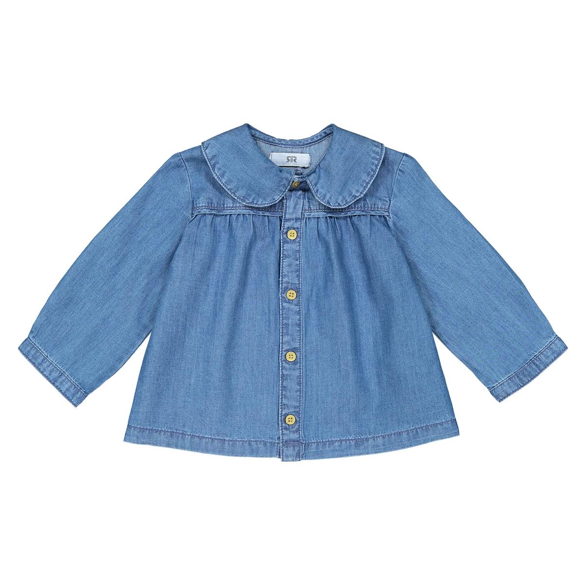 Блузка La Redoute С отложным воротником джинсовая мес- года 1 мес. - 54 см синий пиджак с отложным воротником b young