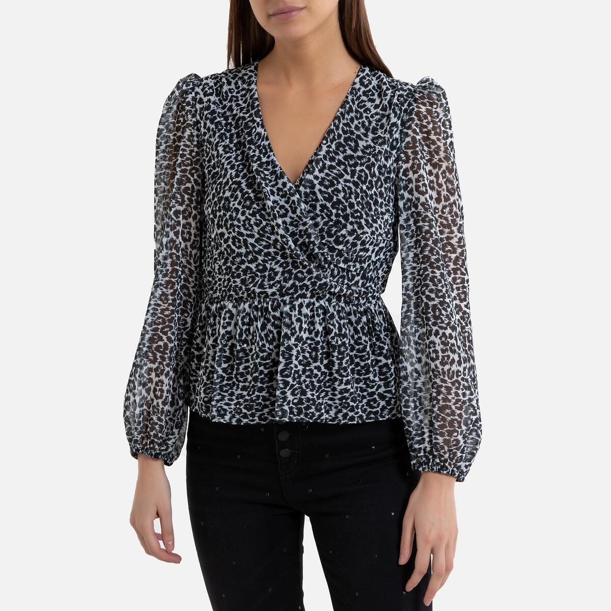 Blusa con motivo leopardo y escote de pico, de manga larga