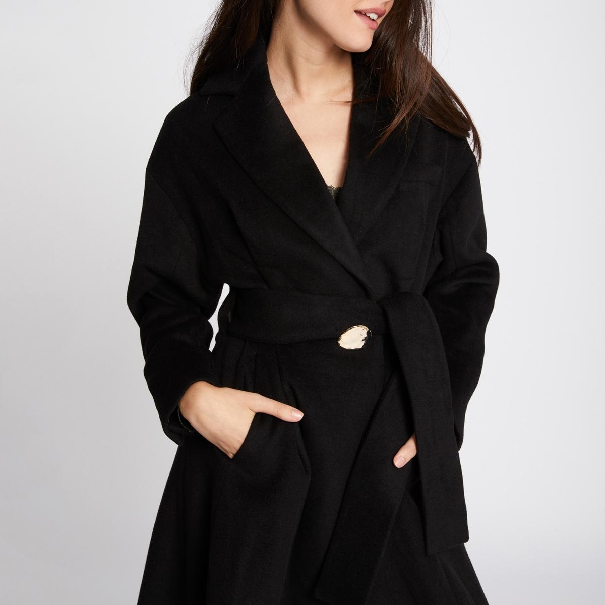 Пальто длинное с застежкой на пуговицы, демисезон