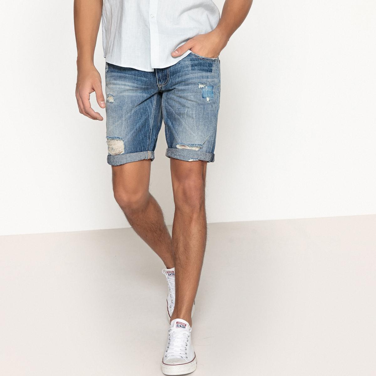 Бермуды джинсовые с потертостями