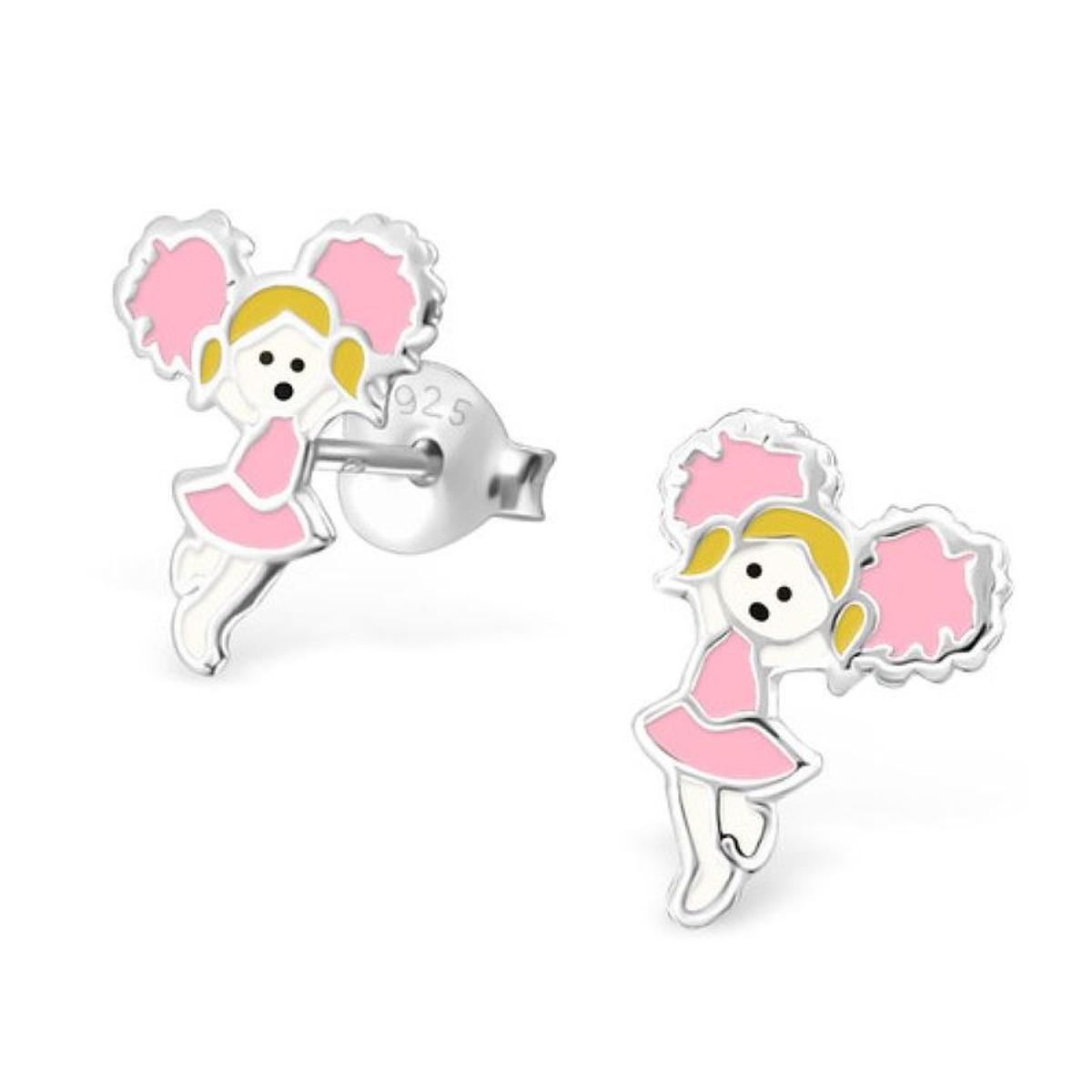 Boucles d'oreilles Majorette Pompon Sports Américain Pompom Girl Défilé Fanfare Rose Jaune Blanc Argent 925