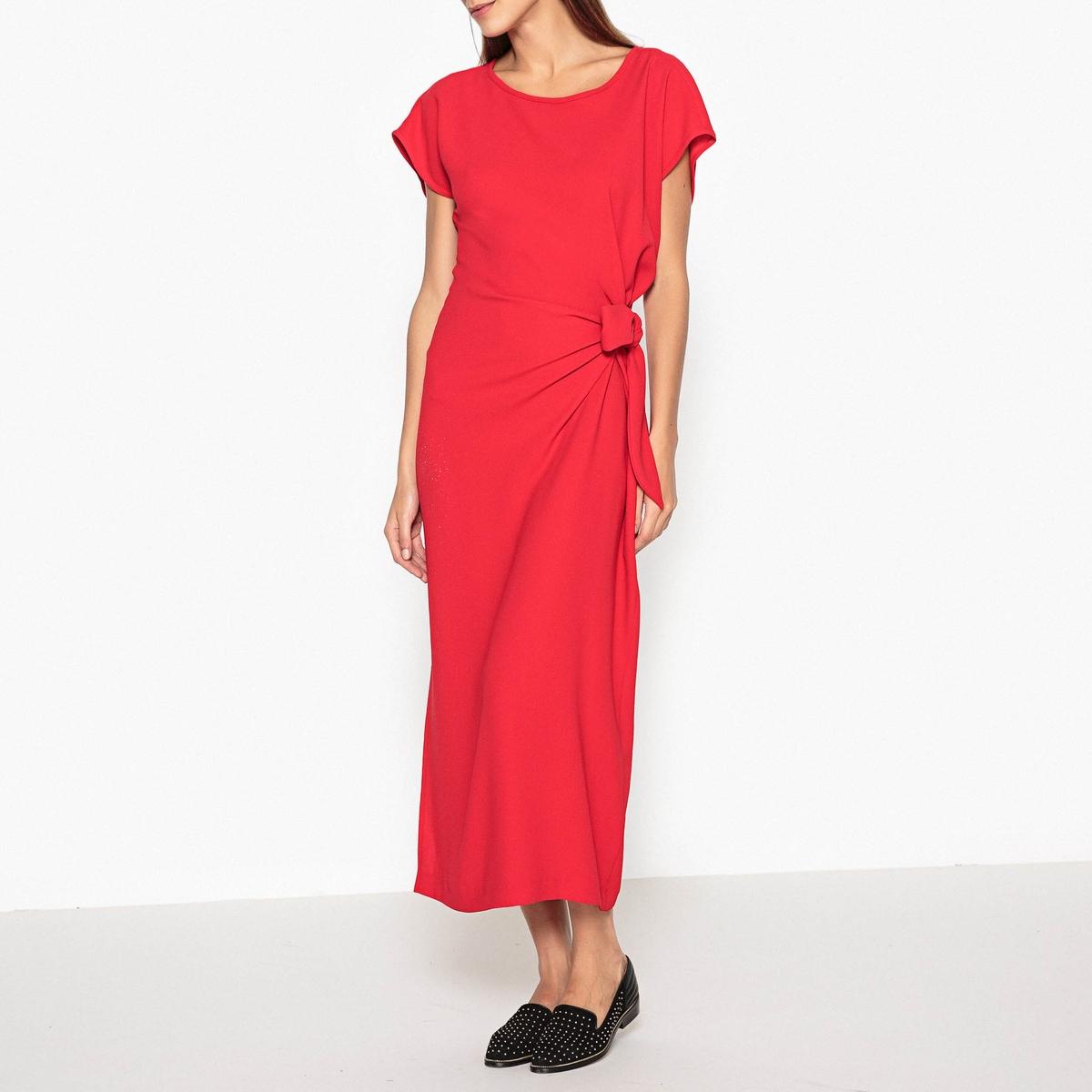 Платье NICTORОписание:Платье с короткими рукавами TOUPY - модель NICTOR с бантами по бокам, создающими эффект драпировки.Детали •  Форма : прямая •  Длина ниже колен •  Короткие рукава    •  Круглый вырезСостав и уход •  100% полиэстер  •  Следуйте советам по уходу, указанным на этикетке<br><br>Цвет: красный