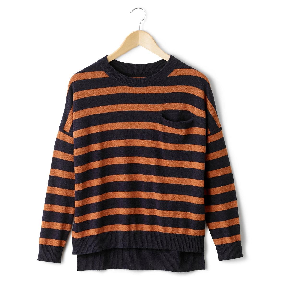 Пуловер, 50% шерсти ягненка<br><br>Цвет: темно-синий в полоску/бежевый,черный в зеленую полоску<br>Размер: 50/52 (FR) - 56/58 (RUS)