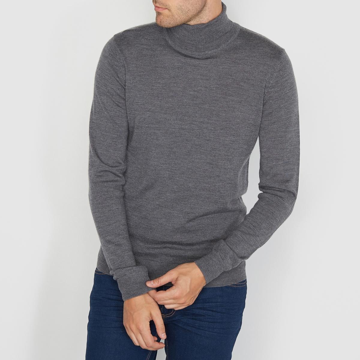 Пуловер с отворачивающимся воротником из шерсти мериносаСостав и описание  :Материал : 100% шерсти мериноса.Длина :  68 смМарка : R essentiel.Уход : Обратите внимание на рекомендации по уходу на этикетке.<br><br>Цвет: серый меланж<br>Размер: XL