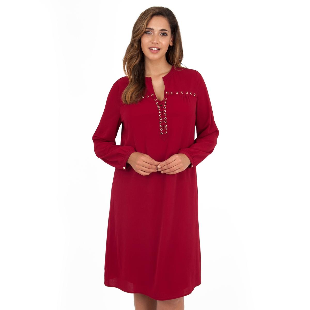 ПлатьеПлатье с длинными рукавами - LOVEDROBE. Притягательный красный цвет и красивый эффект шнуровки в области декольте. Манжеты с небольшими золотистыми пуговицами. Длина ок.104 см. 100% полиэстера.<br><br>Цвет: бордовый<br>Размер: 46 (FR) - 52 (RUS)