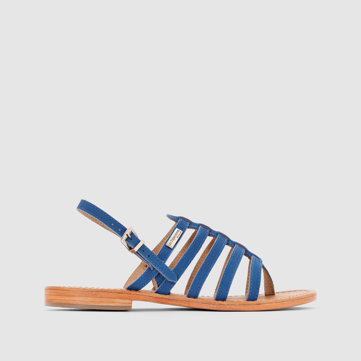 Сандалии Hook, с перемычкой между пальцами, из множества ремешков, кожаныеЛаконичные и по-настоящему женственные, они деликатно обхватывают ногу благодаря многочисленным ремешкам и перемычке между пальцами - в духе обуви Древней Спарты... Восхитительны в ансамблях с шортами и короткими платьями...<br><br>Цвет: синий королевский<br>Размер: 37