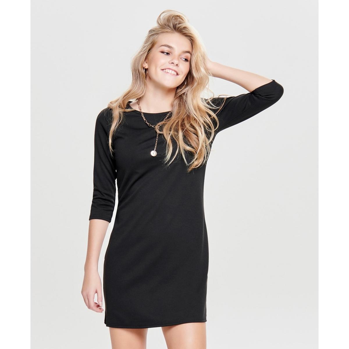 Платье LaRedoute Прямое с рукавами 34 XS черный прямое платье с рукавами фонарик maurini